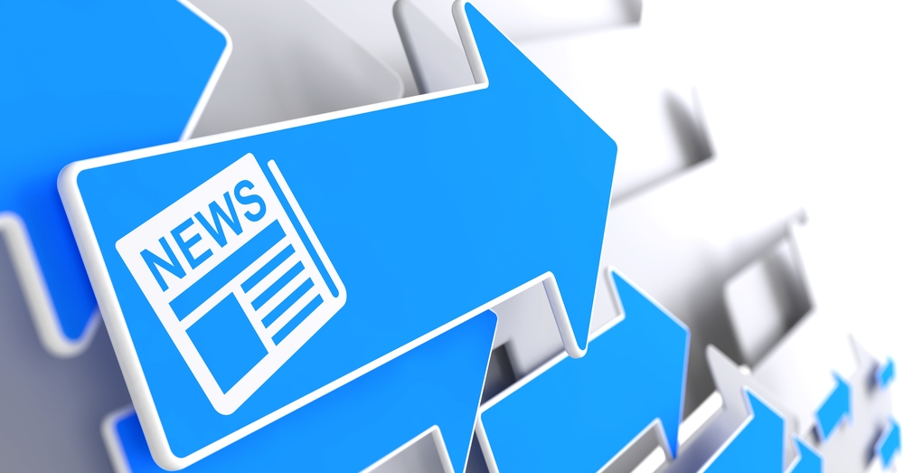 Newspaper Icon with News Title - Blue Arrow on a Grey Background. Mass Media Concept.