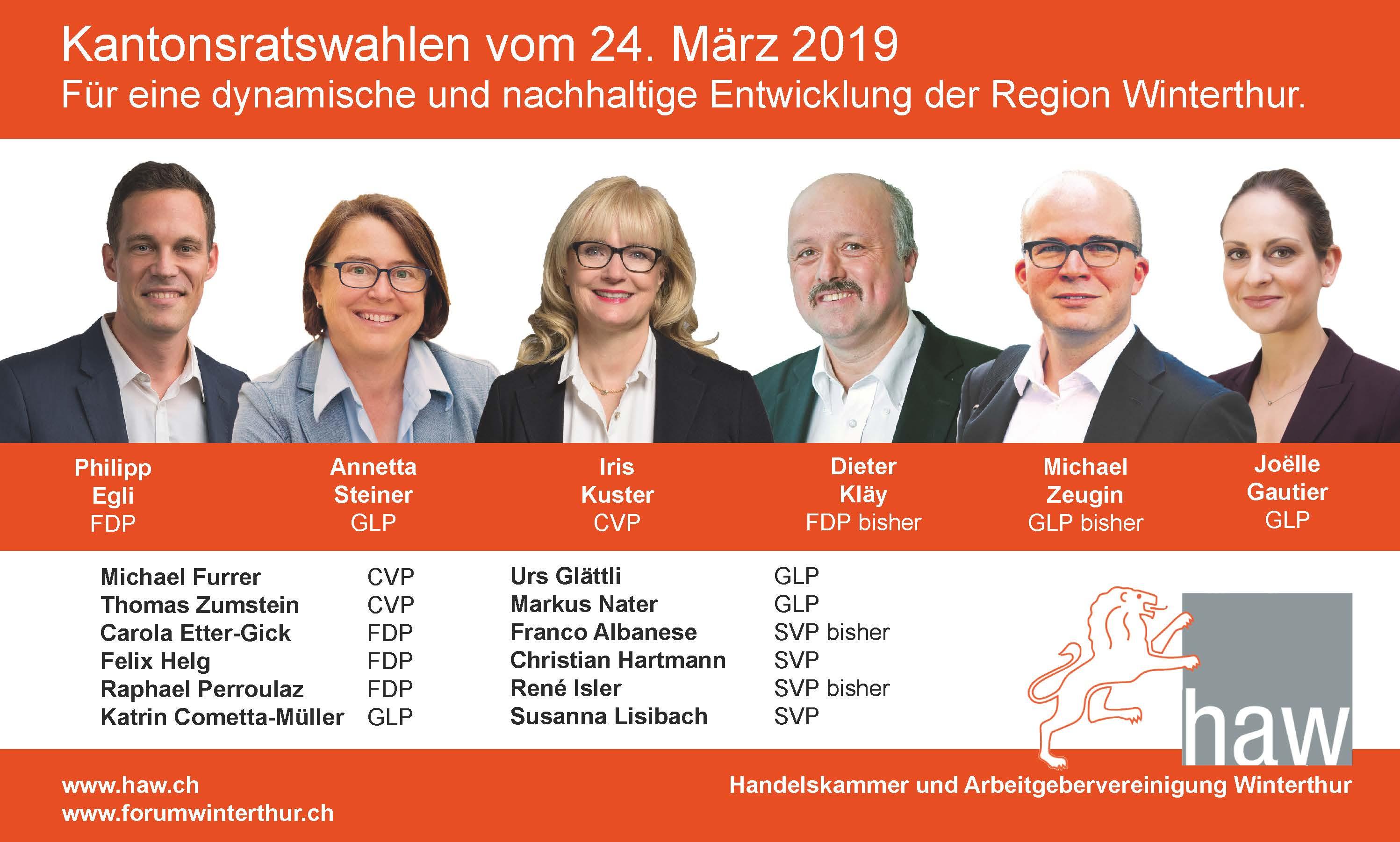 Kantonsratswahlen 2019: Für eine dynamische und nachhaltige Entwicklung der Region Winterthur - Wahlempfehlungen der HAW